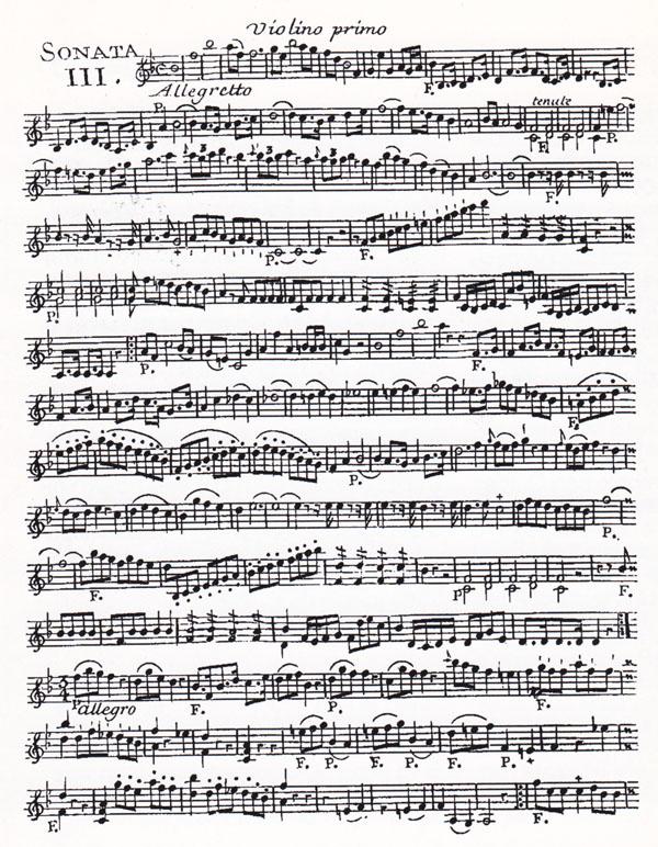 Sonata 111, in si bemolle maggiore, dai Sei Trio Accademici a due Violini e un Violoncello, opera prima di Quirino Gasparini (Parigi, Le Clerc, gravé par Gerardin, 1755 ca.), pag. 1 della parte di violino l