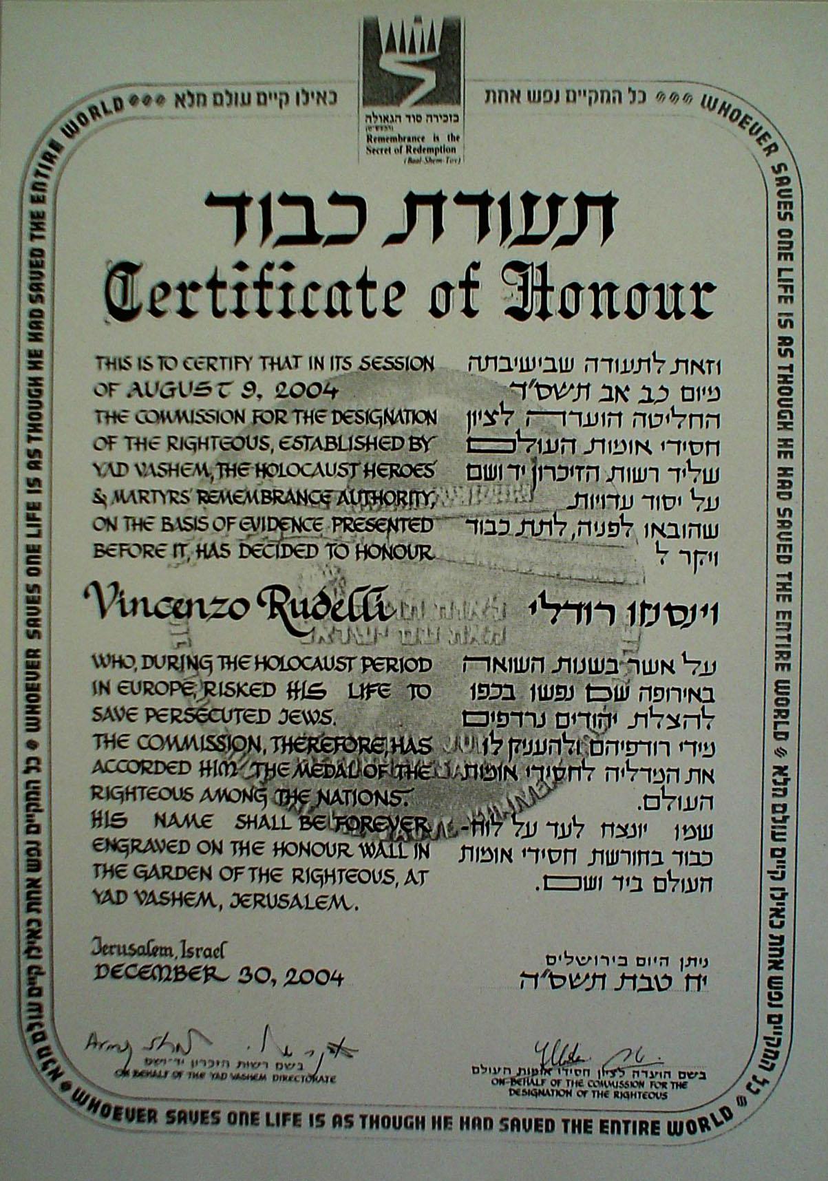 """Il riconoscimento di """"Giusto fra le Nazioni"""" attribuito nel 2004 dallo stato di Israele"""