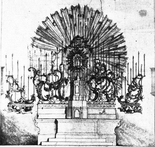 Il disegno originario di Donato Andrea Fantoni, datato 1777. Fu realizzato con penna ad inchiostro nero, acquarelli colorati e matita grassa a carboncino. (mis. cm.43 x54,5)