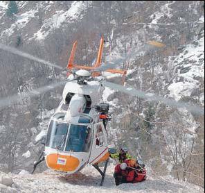 L'elisoccorso del 118 di Bergamo durante un intervento