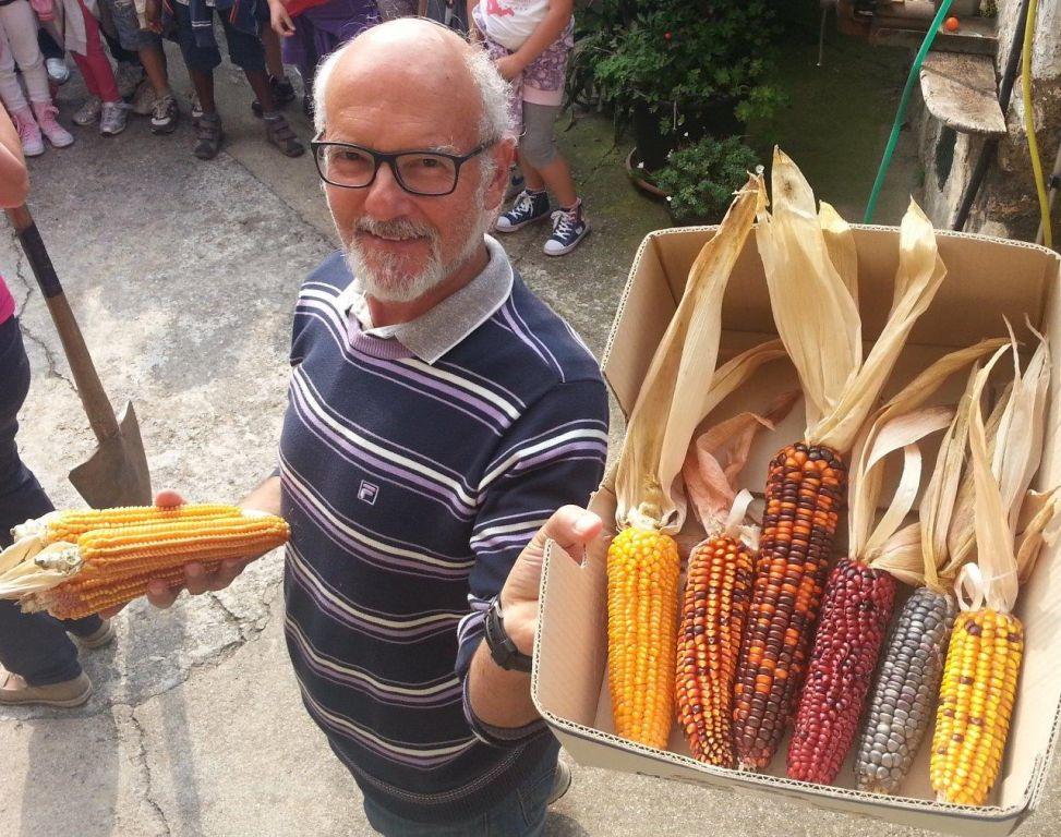 Angelo Savoldelli con alcune varietà di mais