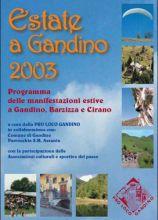 """Il frontespizio dell'opuscolo """"Estate a Gandino 2003"""""""
