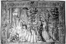 """""""Presentazione al tempio"""" arazzo del Museo della Basilica di Gandino, prodotto a Bruxelles nel 1580"""