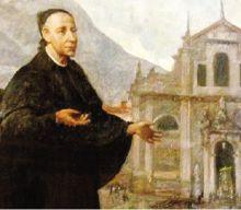 Don Francesco della Madonna davanti alla basilica di Gandino in un dipinto di Pietro Servalli