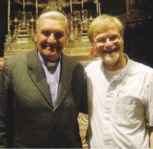 Monsignor Gelmi a Gandino insieme a monsignor Eugenio Coter