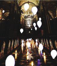Una simulazione dell'installazione «Anime» di Parolini nella Basilica di Santa Maria Assunta a Gandino