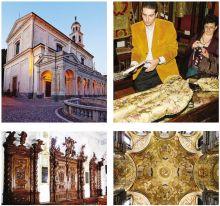 Dall'alto in senso orario, la basilica di Clusone; Tomasini; la volta di Gandino: le sacrestie di Alzano